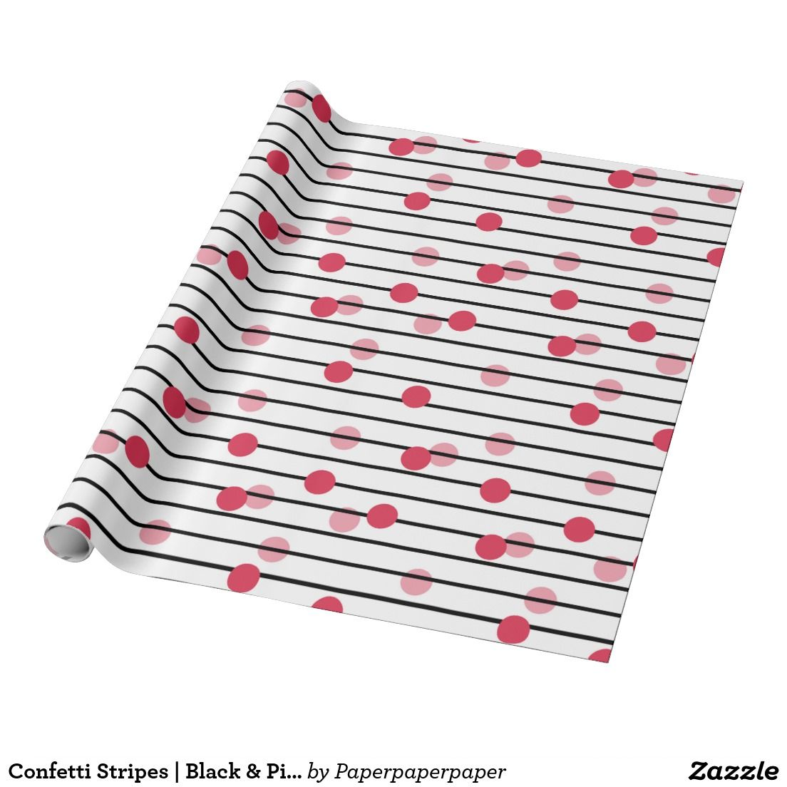 Confetti Stripes | Black & Pink Pattern Wrapping Paper