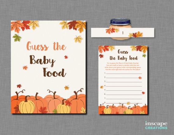 Pumpkin Guess The Baby Food Activity Printable Fall Baby