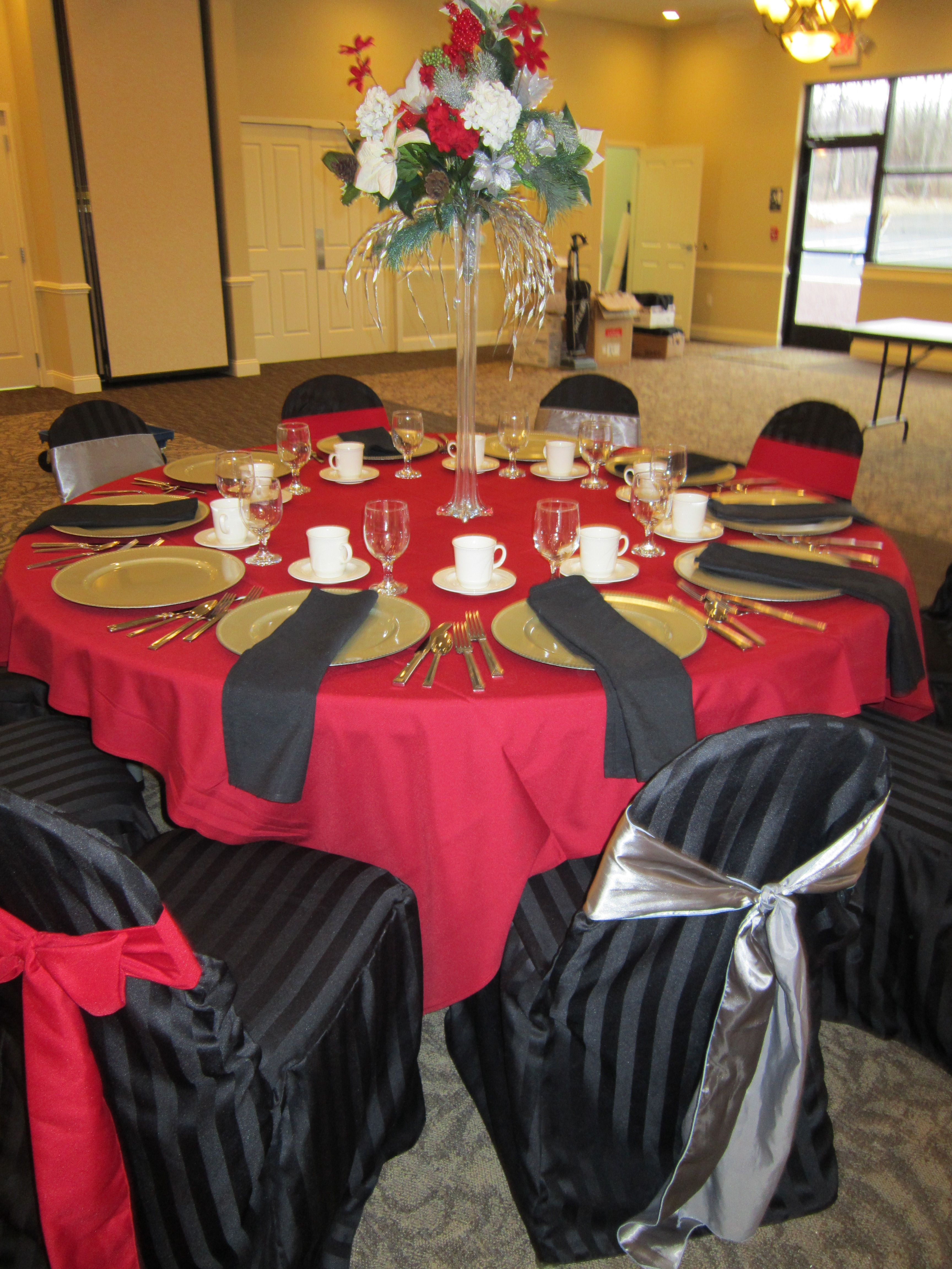 Red Table Cloth Black Chair Covers Great Idea for a Black and