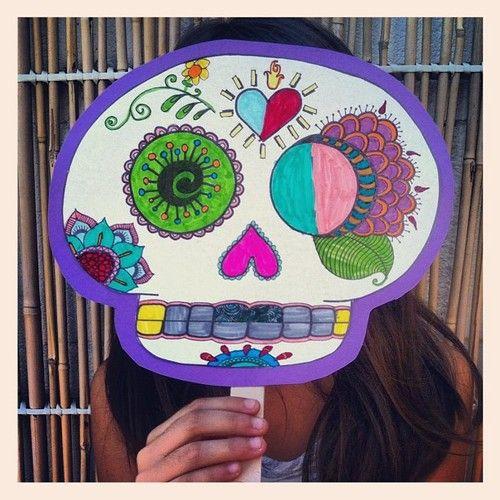 Mascara de Calaverita de azúcar para imprimir y colorear.