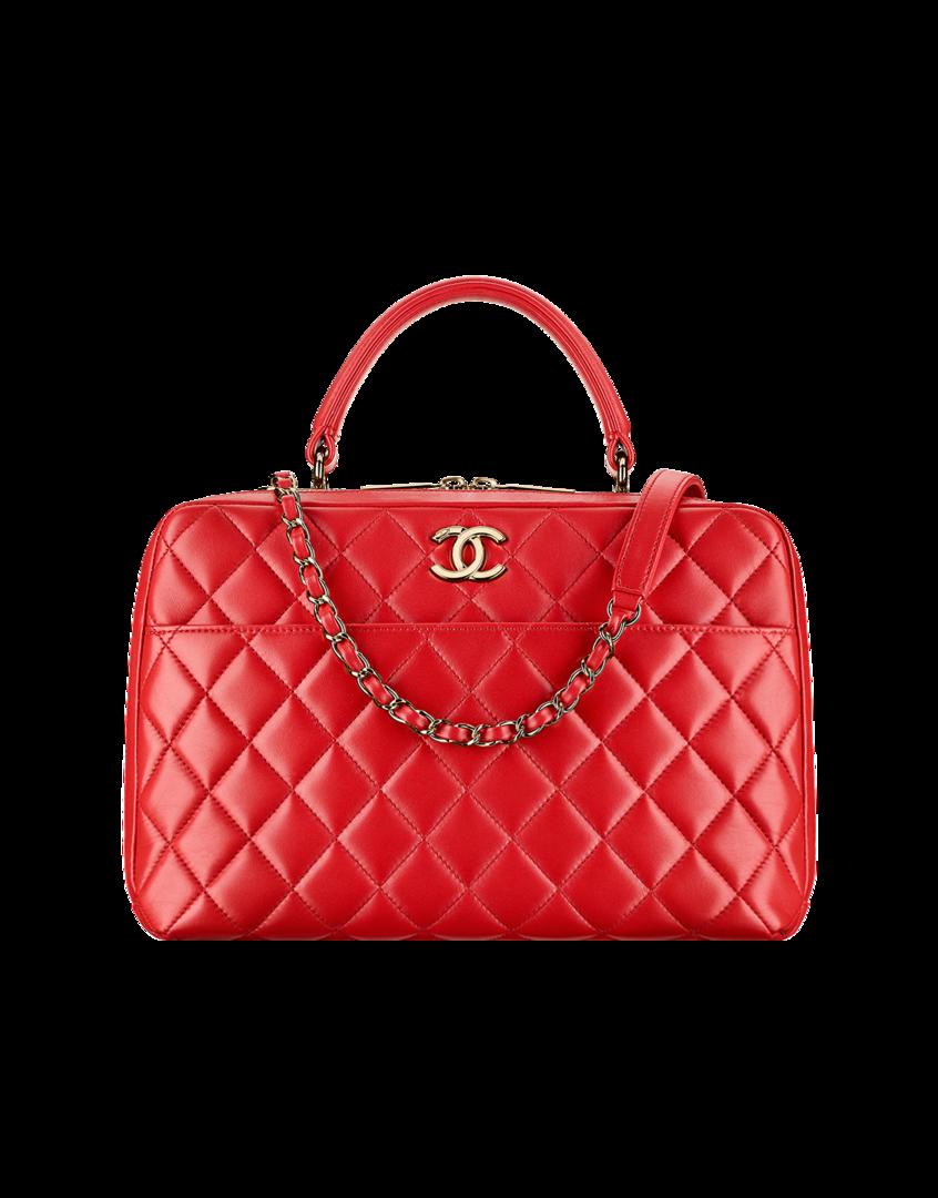 Bowling bag, lambskin   light gold metal-red - CHANEL   designer ... ca09294ee4