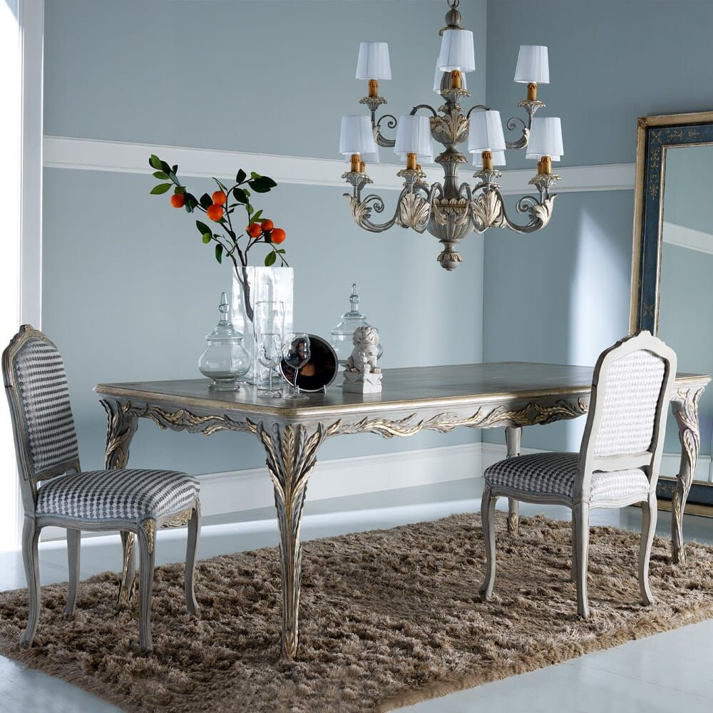 126 Custom Luxury Dining Room Interior Designs: Designer Rectangular Classic Italian Dining Table And
