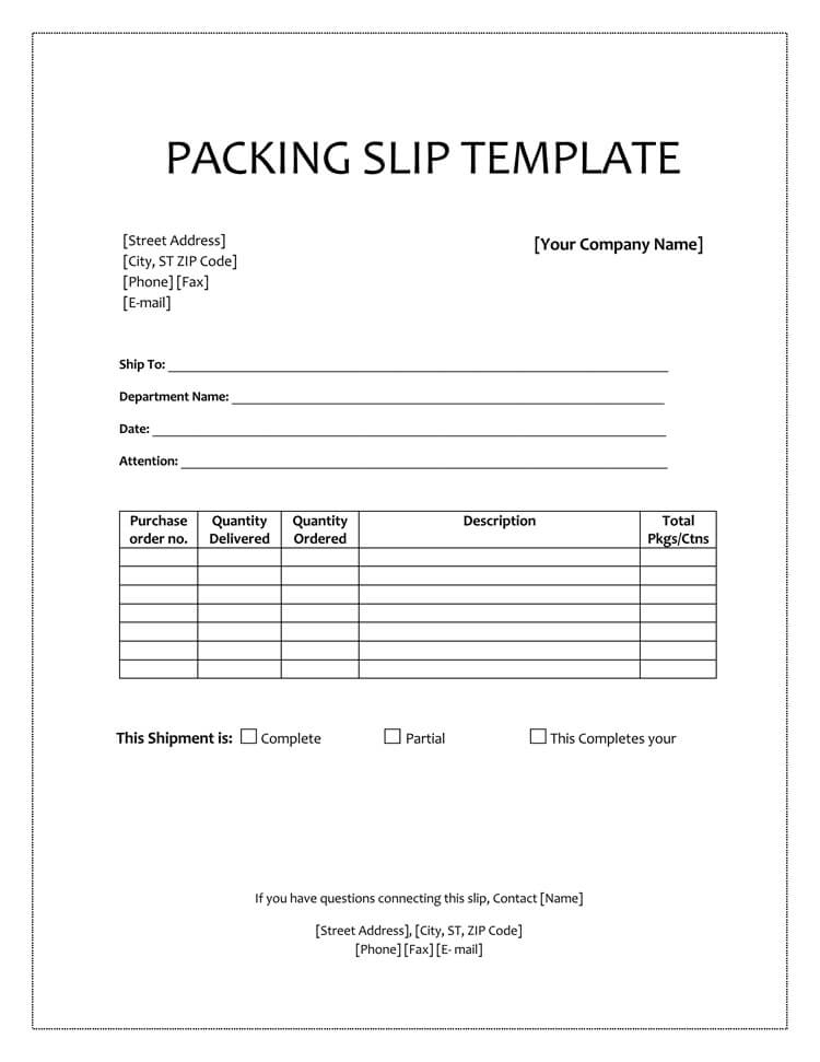 25 Free Shipping Packing Slip Templates For Word Excel Throughout Blank Packing List Tem Packing List Template Business Card Template Word List Template