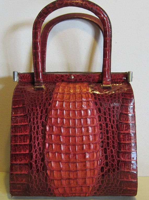 Fabulous Vintage Red Hornback Crocodile Leather Bag Croc Handbag Jean Perez Valencia Near Mint
