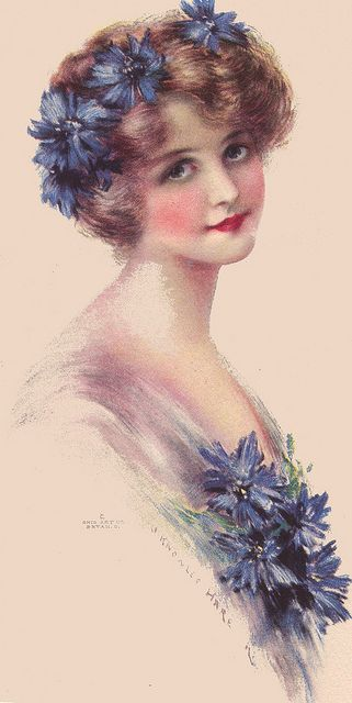 Cornflower Blue lady by J. Knowles Hare