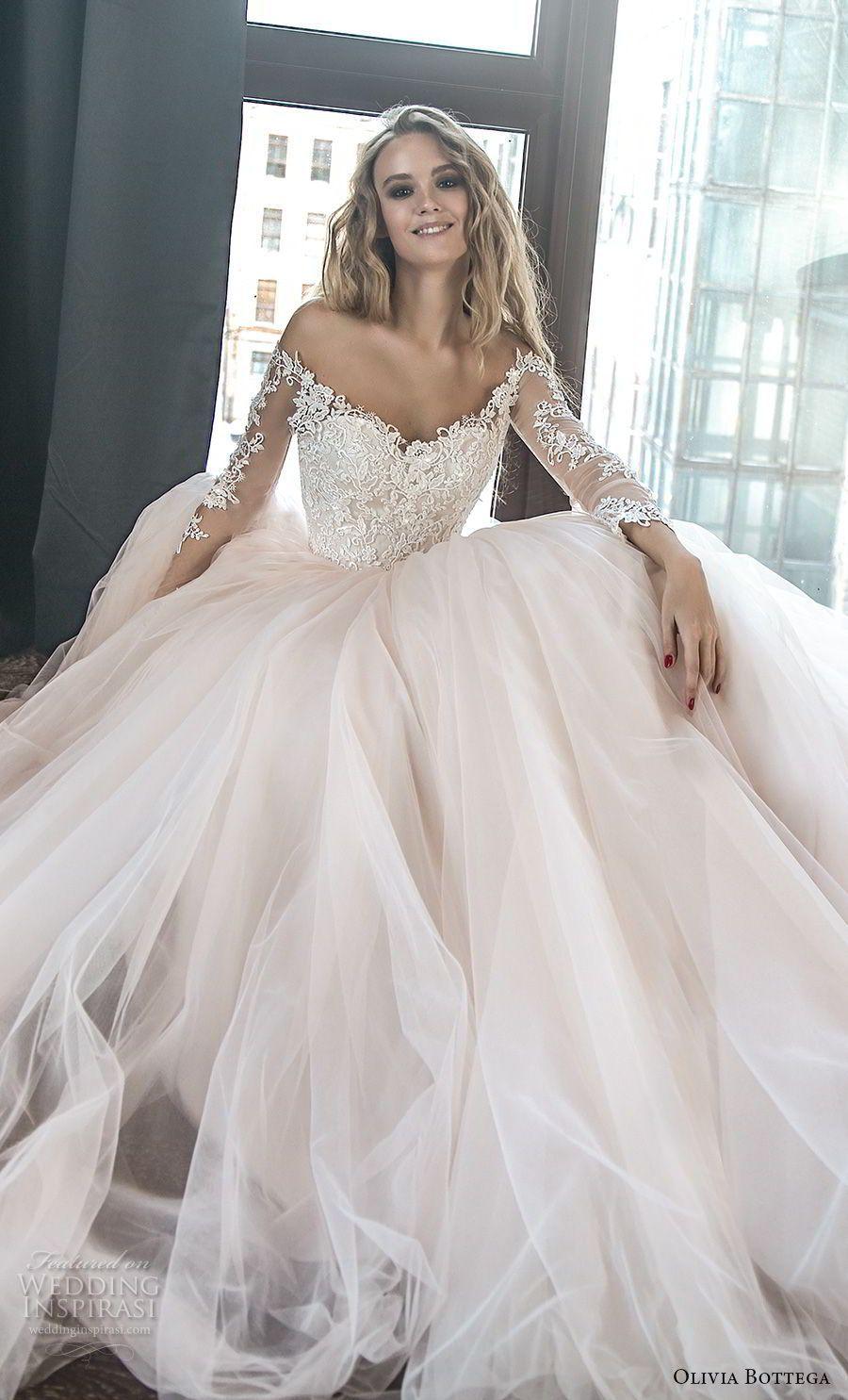 Olivia Bottega 2018 Bridal Long Sleeves Off The Shoulder Sweetheart Neckline Heavily Em Wedding Dress Long Sleeve Ball Gown Wedding Dress Elegant Wedding Dress [ 1485 x 900 Pixel ]