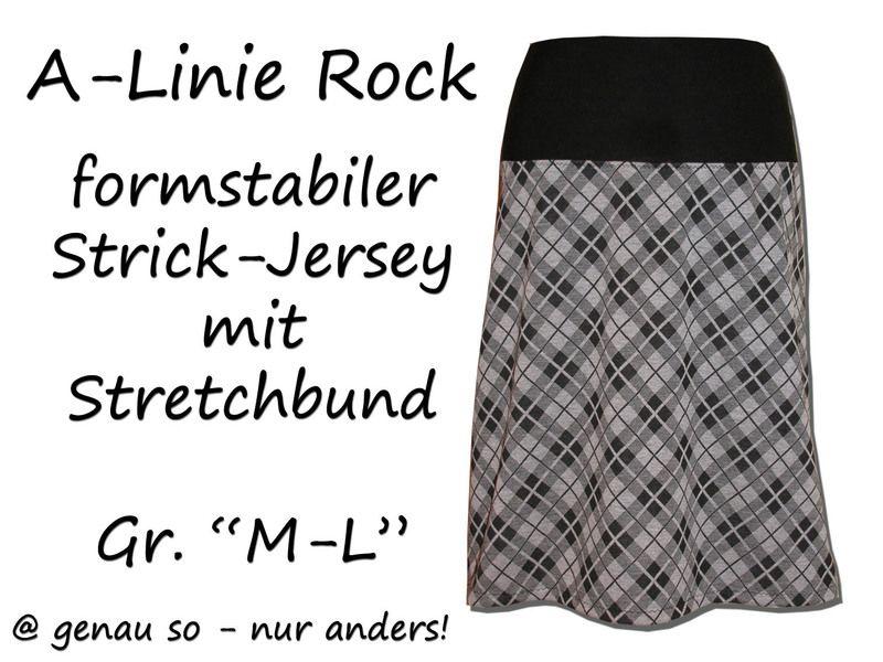 A-Linie Rock Strick-Jersey mit Stretchbund \