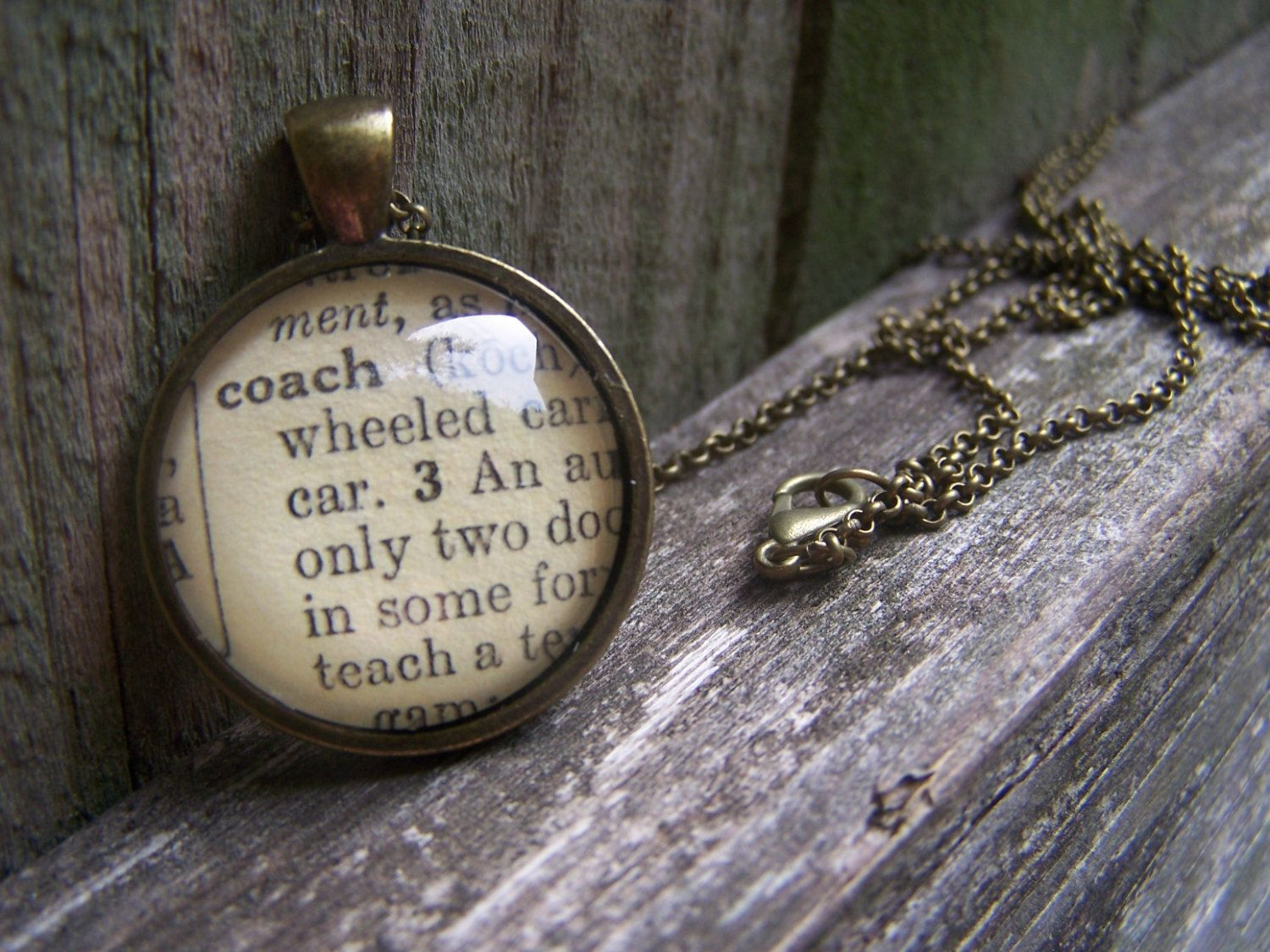 Coach Necklace-- Coach Jewelry--Vintage Dictionary Print Handmade Cabochon Necklace--Gift for Coach by ChloesWindow on Etsy