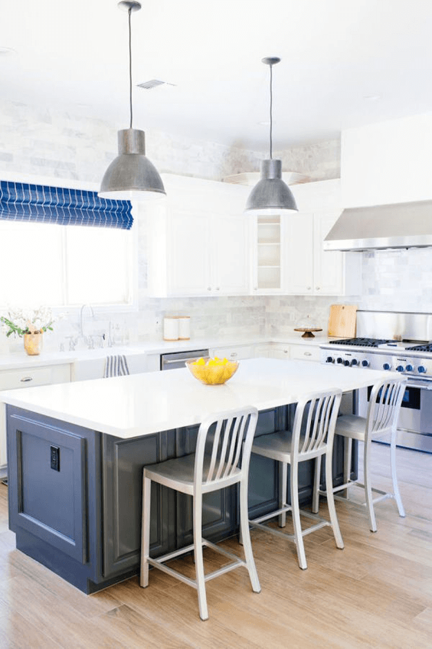 White And Grey Kitchen With Blue Accents