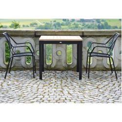 Photo of Square teak table 80 black Jan Kurtz