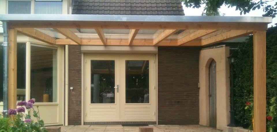 4 houten veranda aan huis met hellend polycarbonaat of glazen dak zelfbouw bouwpakket van - Terras met houten pergolas ...