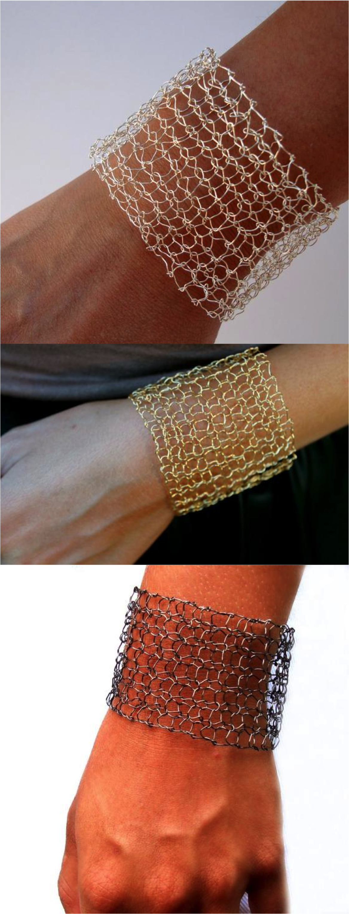 Modern chic wire mesh cuff bracelet hand knit with plated fine wire ...