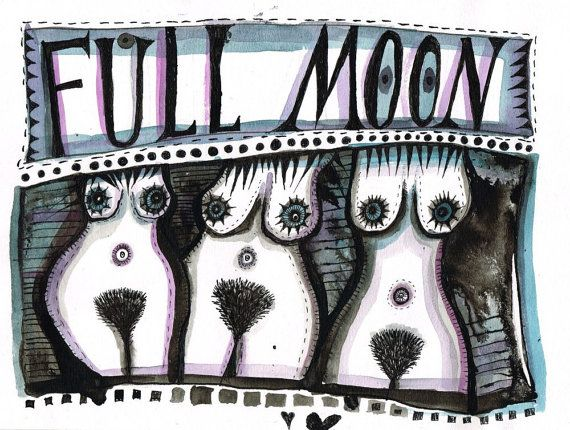 Full Moon - watercolor painting - ink drawing - circle of women- luna-sisterhood- illustration-nude art- nude painting- midnight home decor