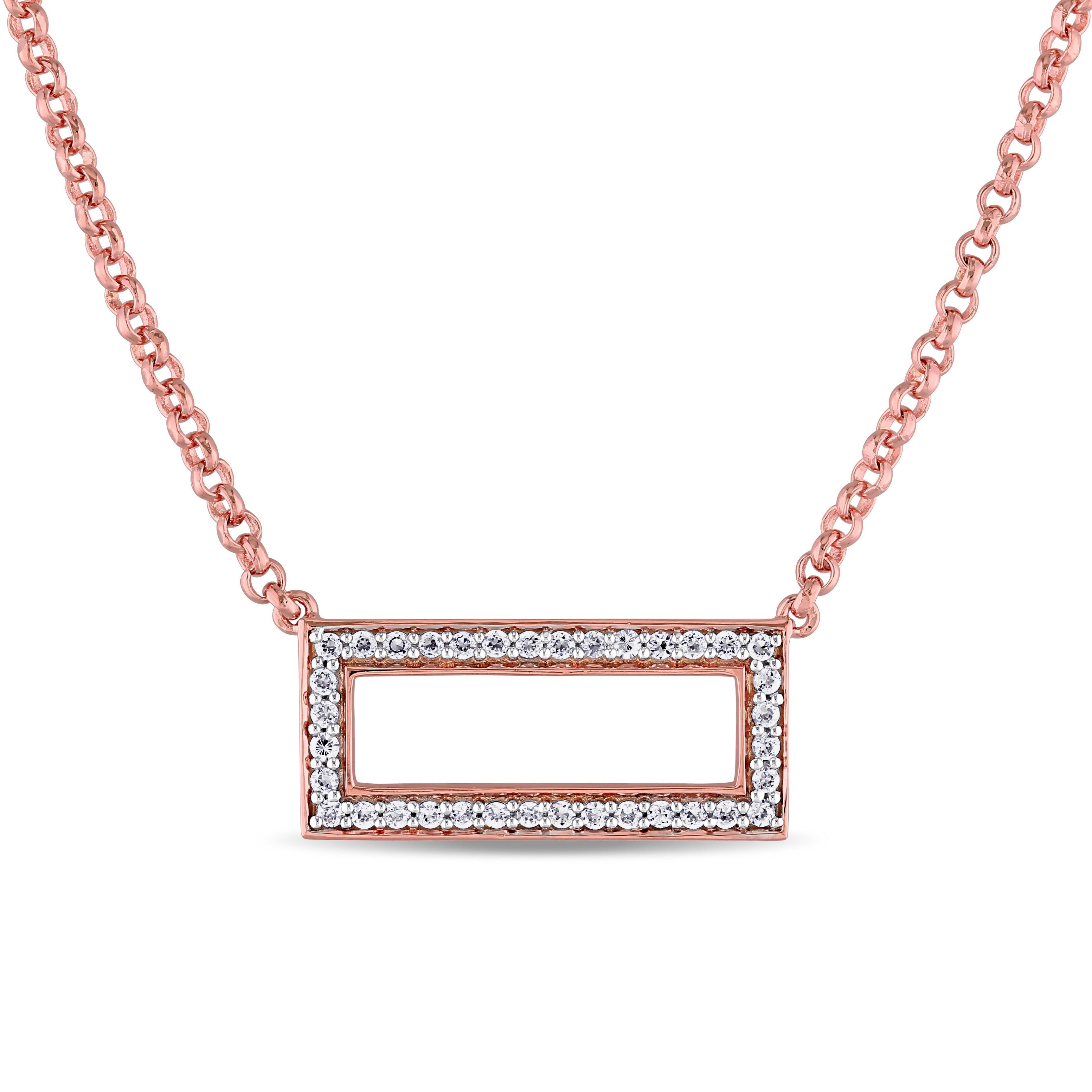 Miadora Rose Plated Sterling Silver Cubic Zirconia Open Space