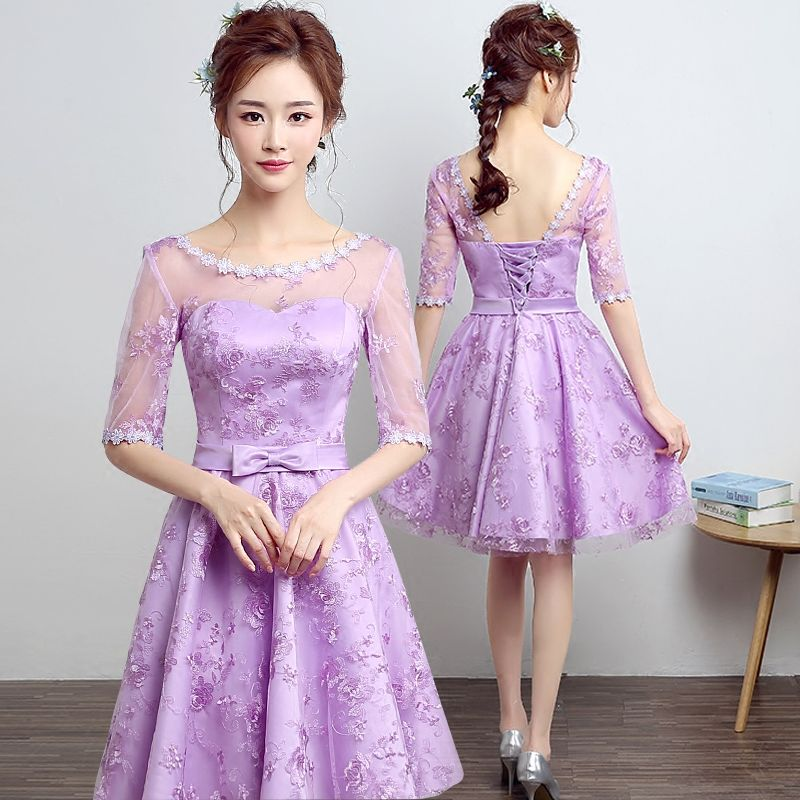 PotN\'Patio O-neck With Half Lace Sleeve Cheap Lavender Bridesmaid ...