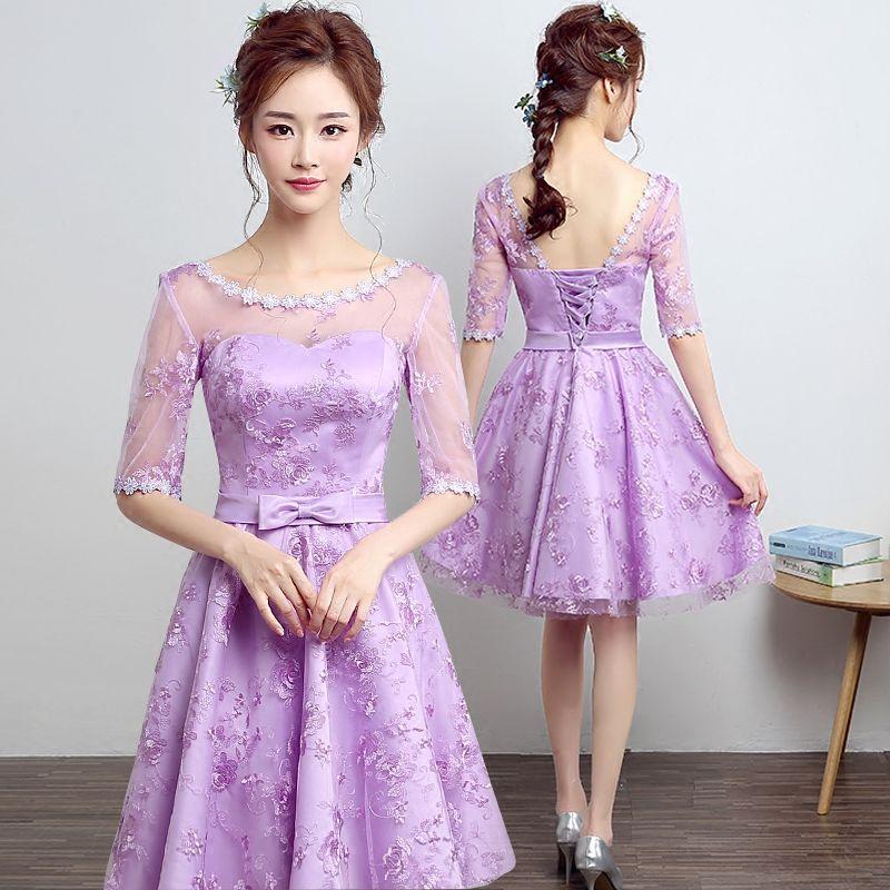 PotN\'Patio O-neck With Half Lace Sleeve Cheap Lavender Bridesmaid ...