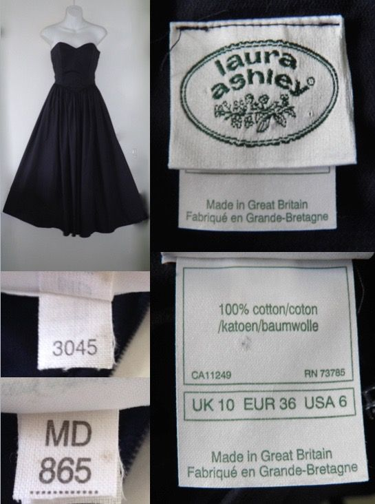 1980s Vintage Do 50s Laura Ashley Navy Blue Sweetheart Strapless Long Evening Prom Dress 8 Vintage Labels Clothing Company Vintage Fashion