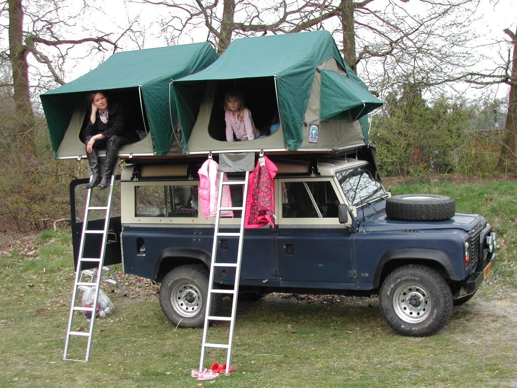 Our Landy With Roof Top Tents Outside Times Roof Top