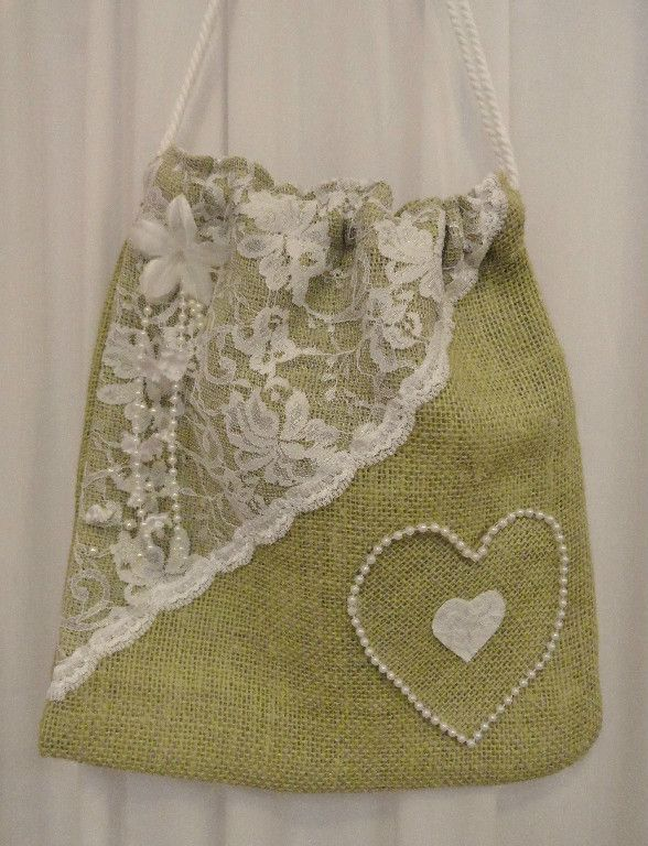 Burlap and white lace beaded heart dollar dance bag