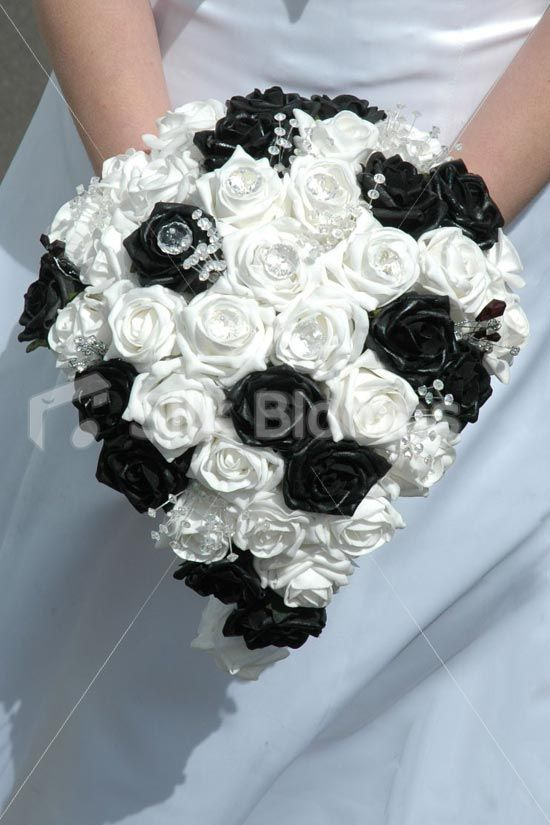 2d49c086ede Shop Stunning Black and White Rose Bridal Bouquet with Crystal Sprays  Online from Silk Blooms