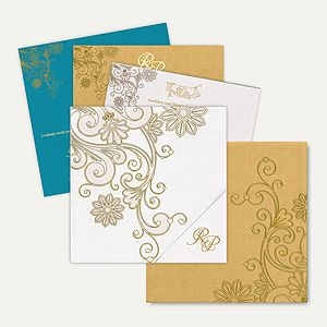 This amazingly designed ‪#‎invitationcard‬ is made out of from fine quality of white shimmer finish card stock. Card front has elegant floral swirl design with spot lamination effect gives card a stunning look. The Card has a gold envelope with matching floral design on it and option of three different color inserts are available inside the card. Initials printed on the pocket of the card is customizable as per couple's name.