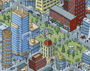 Downtown City Blocks with Office Buildings, Apartments and Large Park Royalty Free Stock Vector Art Illustration