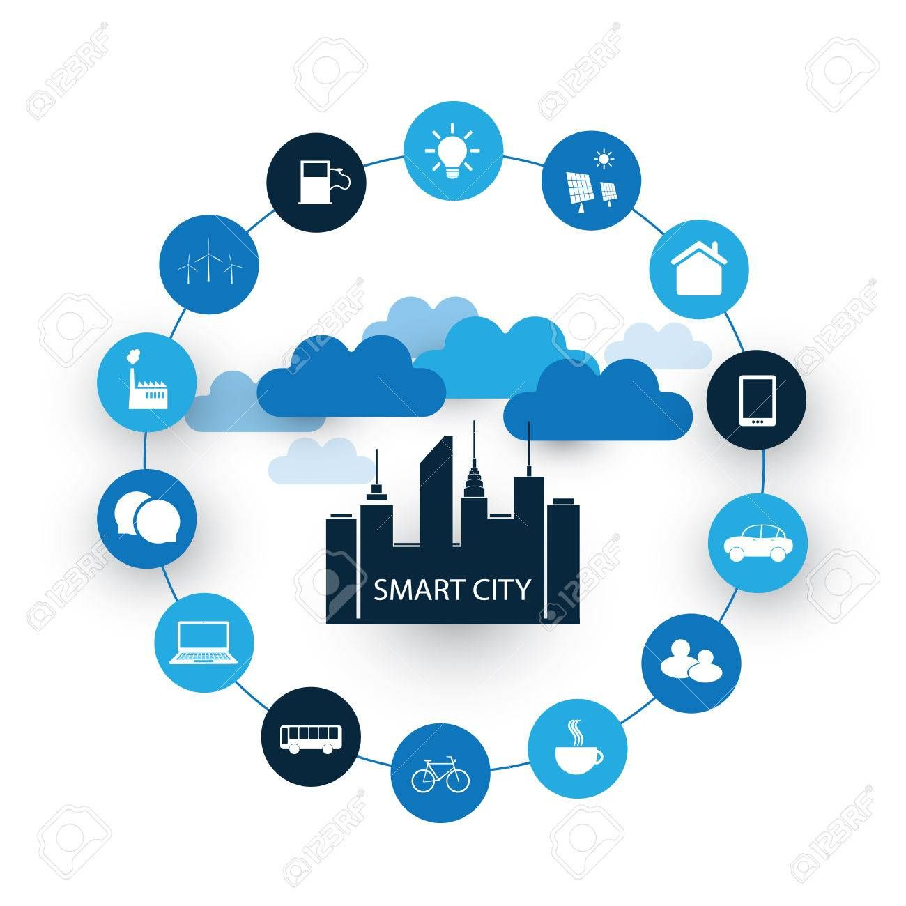 58298491 Smart City Design Concept With Icons Jpg 1300 1300 Smart City City Design Graphic Design Photography