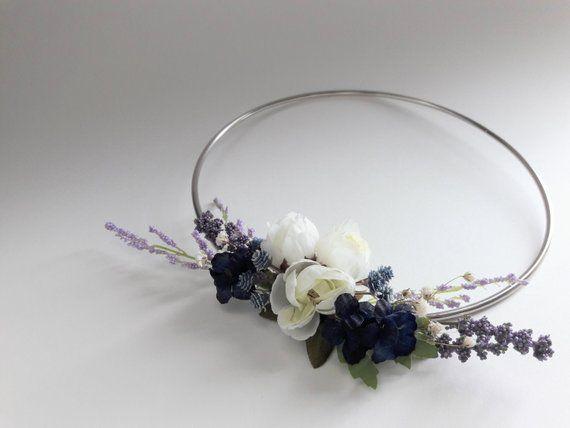 Photo of Ring Wreath with Silk Flowers and Dried Babys Breath, Wedding Decor, Chic Nursery Decoration, Modern Wreath, Simple Flower Wreath