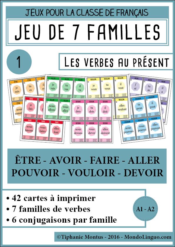 Jeu De 7 Familles Pour La Classe De Francais X2f Fle Sur La Conjugaison Des Verbes Etre Avoir Faire All Conjugaison Apprendre Conjugaison Conjugaison Ce2