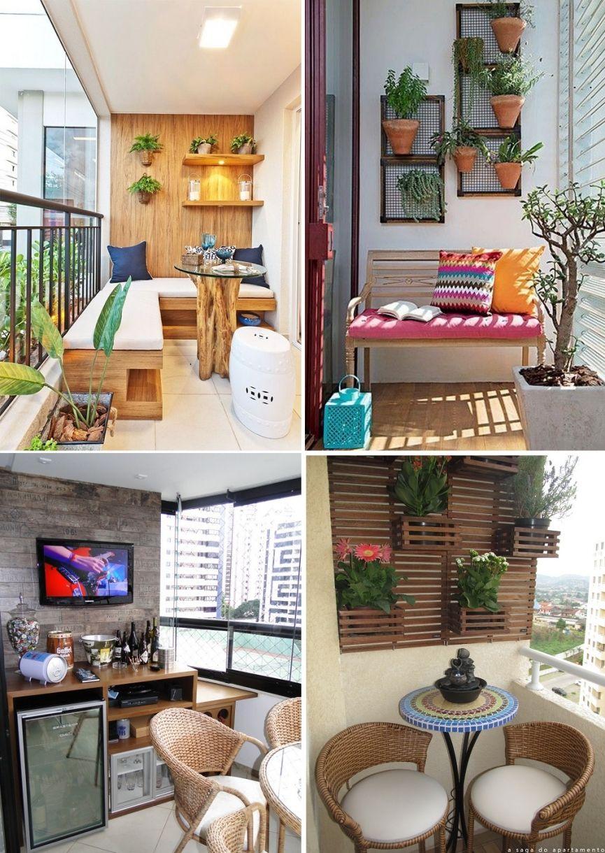 varandas decoradas pequenas coloridas modernas bonitas alegres e diferentes varadaschiques  -> Ideias Para Decorar Quitinetes Pequenas