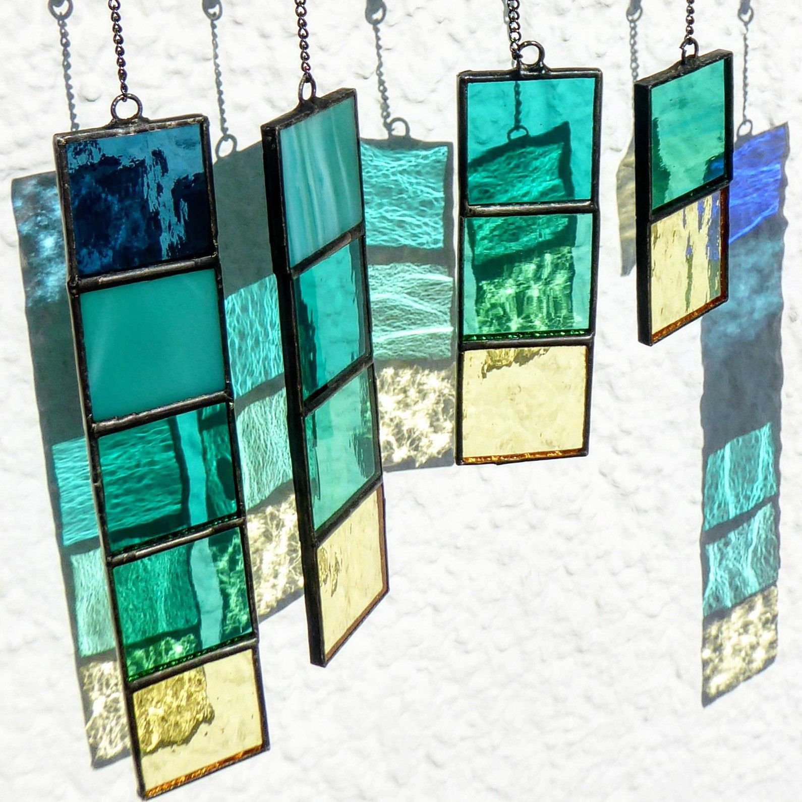 Stained glass sea hanging mobile suncatcher Christ