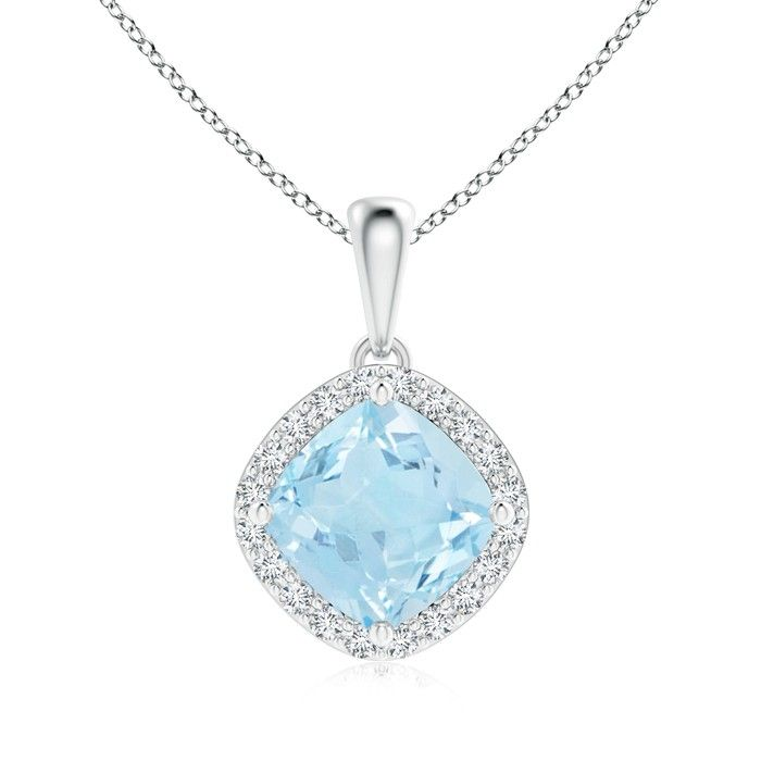 Angara Sapphire and Diamond Halo Pendant in Platinum ruAcOwI