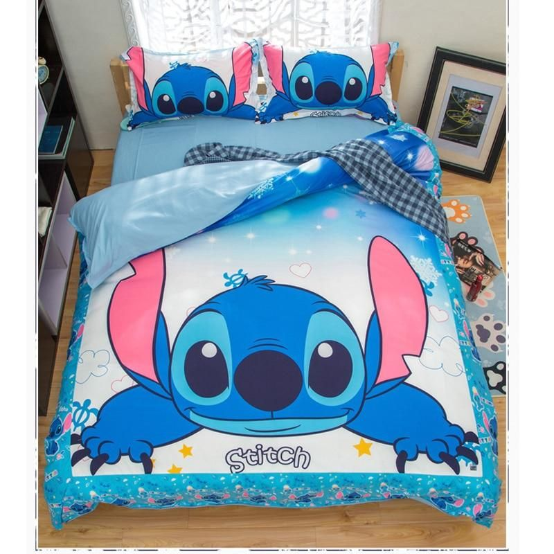 Cartoon Lilo Bedding Set Queen King Size With Bed Cover Pillow