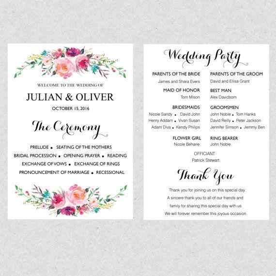 Boho Floral Bouquet Wedding Ceremony Program