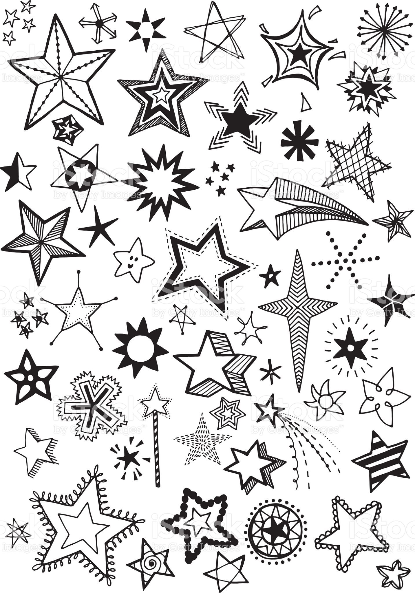 Quirky and fun hand drawn star vector shapes Hand