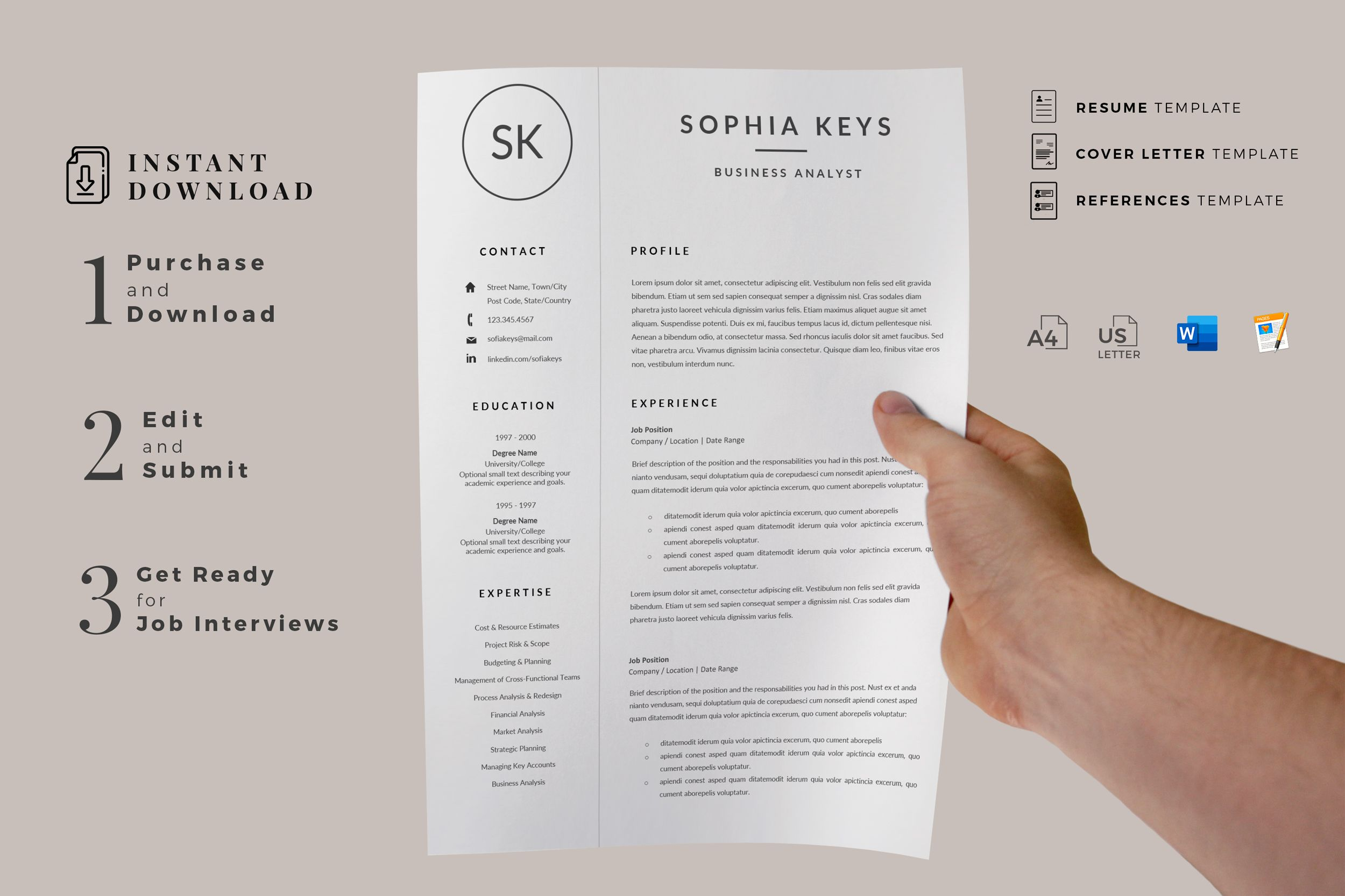 Creative Resume Templates For Ms Word And Mac Pages Professional Resume Templates And Matching Cover Le Lettering Resume Template Professional Resume Template