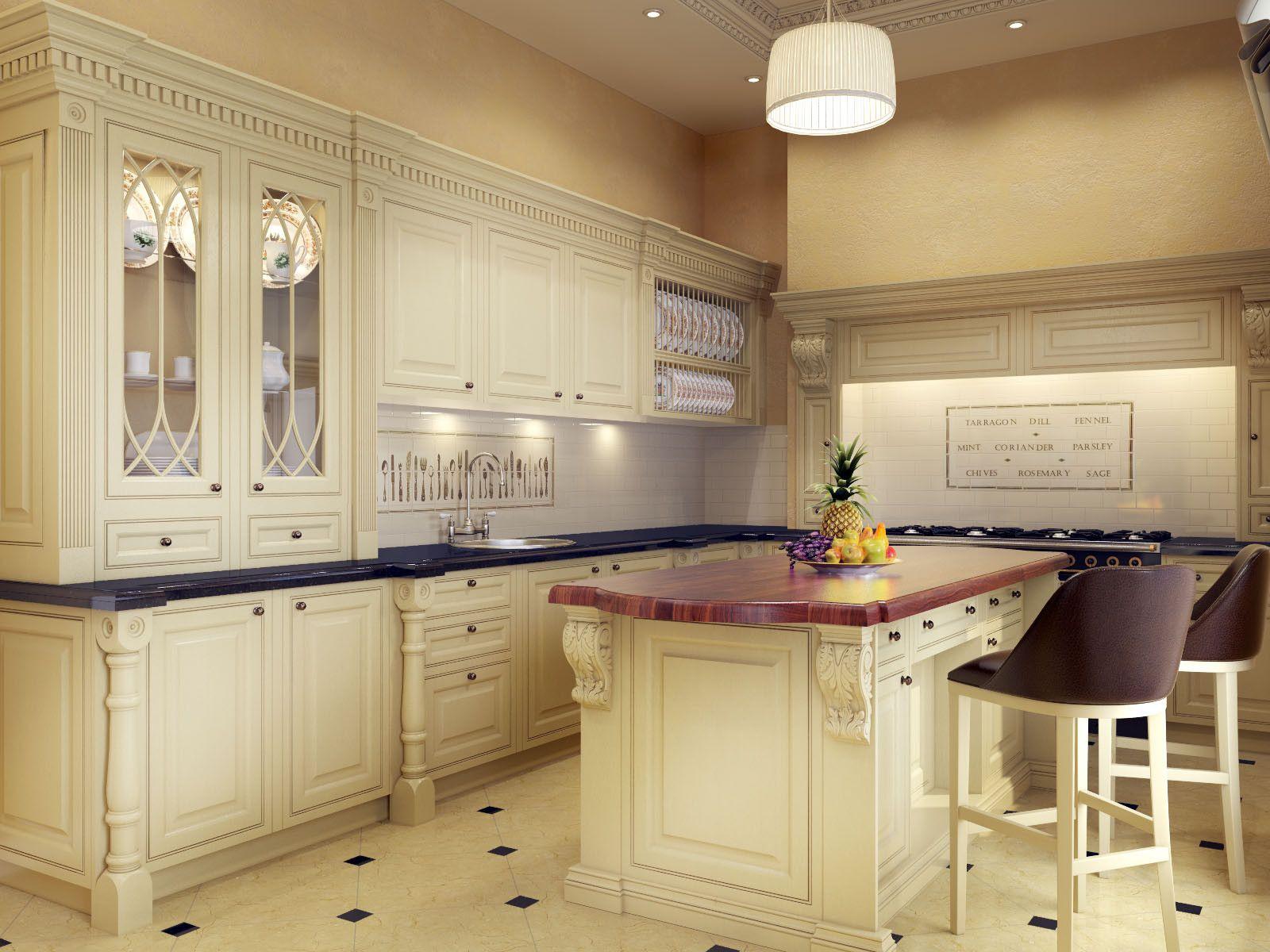 3D Model Classic Kitchen  3D Model  3Dmodeling  Pinterest Custom Kitchen Models Design Ideas