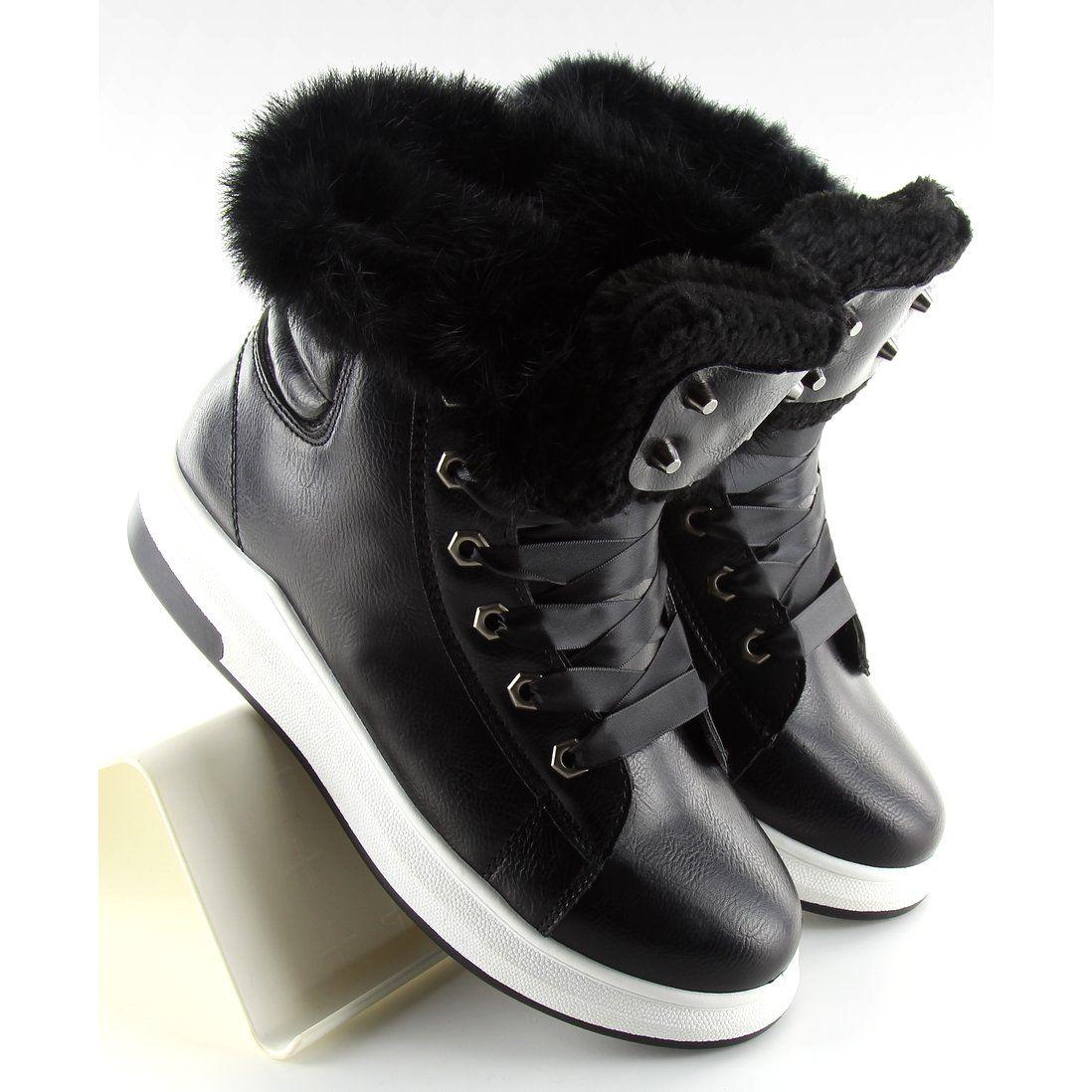 Sportowe Damskie Obuwiedamskie Czarne Ocieplane Buty Sportowe Kb 039 Black Obuwie Damskie Wedge Sneaker High Top Sneakers Top Sneakers