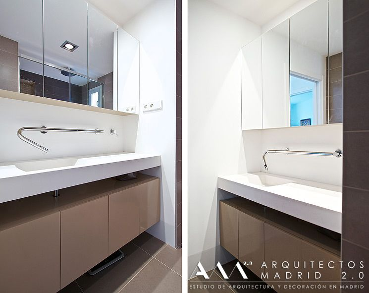 encimera de lavabo corian blanco en baño pequeño, grifo empotrado en - cascada de pared