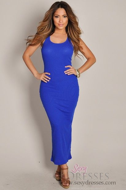 Anabelle Royal Blue Cute And Casual Sleeveless Tank Maxi Dress