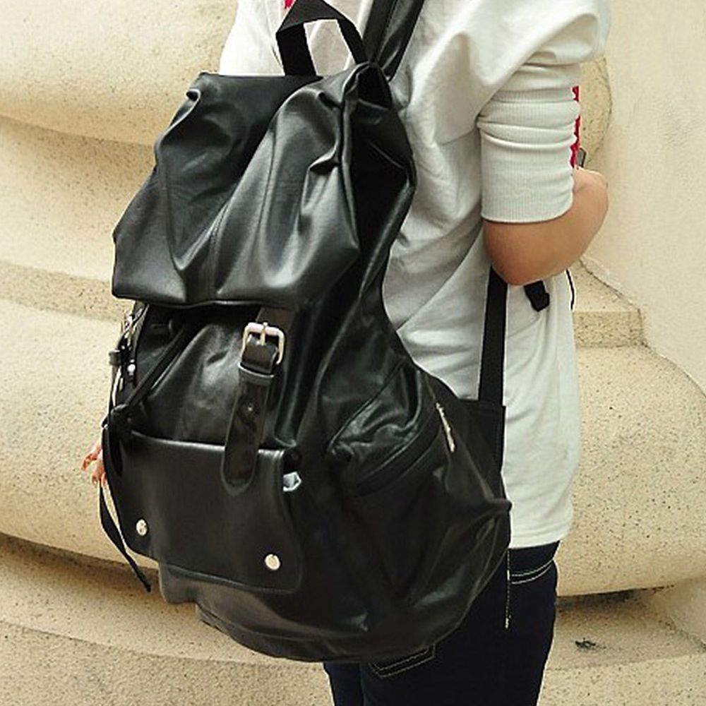 b8cf4eda0788 Women Men Extra Large Backpack PU leather Rucksack School Satchel ...