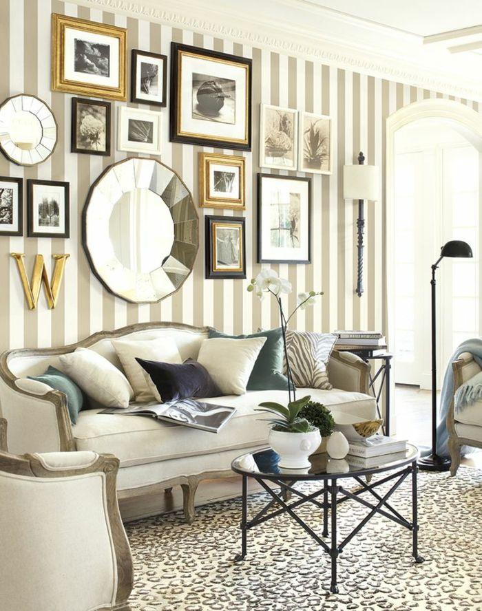 tapeten ideen wohnzimmer streifenmuster vintage couchtisch schöne ...