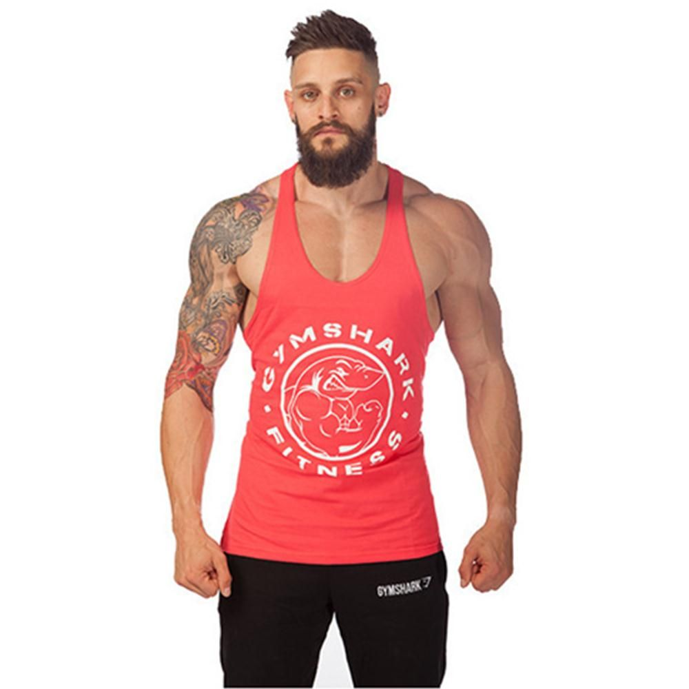 0563b581 2016 New Arrival Gym Shark Stringer Tank Top Men Gymshark Bodybuilding and Fitness  Men's Singlets GYM Tank Shirts Sports Clothes