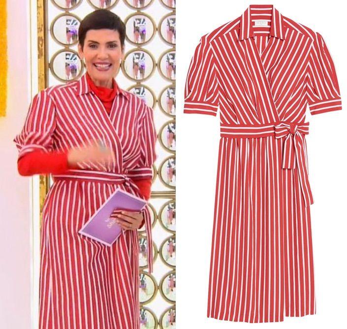 En Les Rayures À Reines Robe Cordula Du Chemise Dans Rouge Cristina SXx8Z56qnw