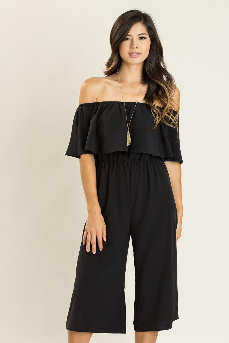 Maggie Black Off The Shoulder Culotte Jumpsuit Cute Dresses Professional Chic Fashion [ 1200 x 800 Pixel ]
