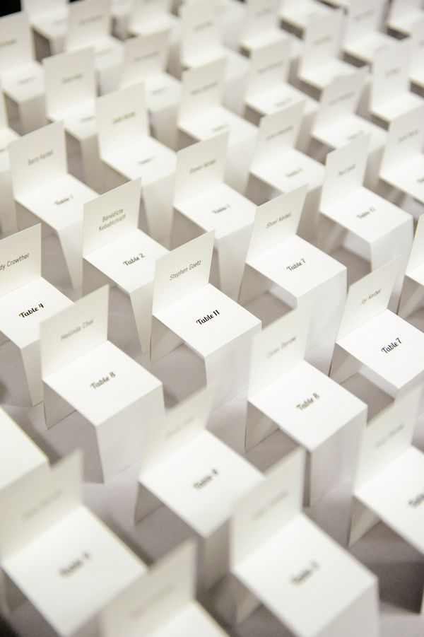 mini chair seating cards // photo by Alders Photography  // View more: http://ruffledblog.com/industrial-los-angeles-wedding/