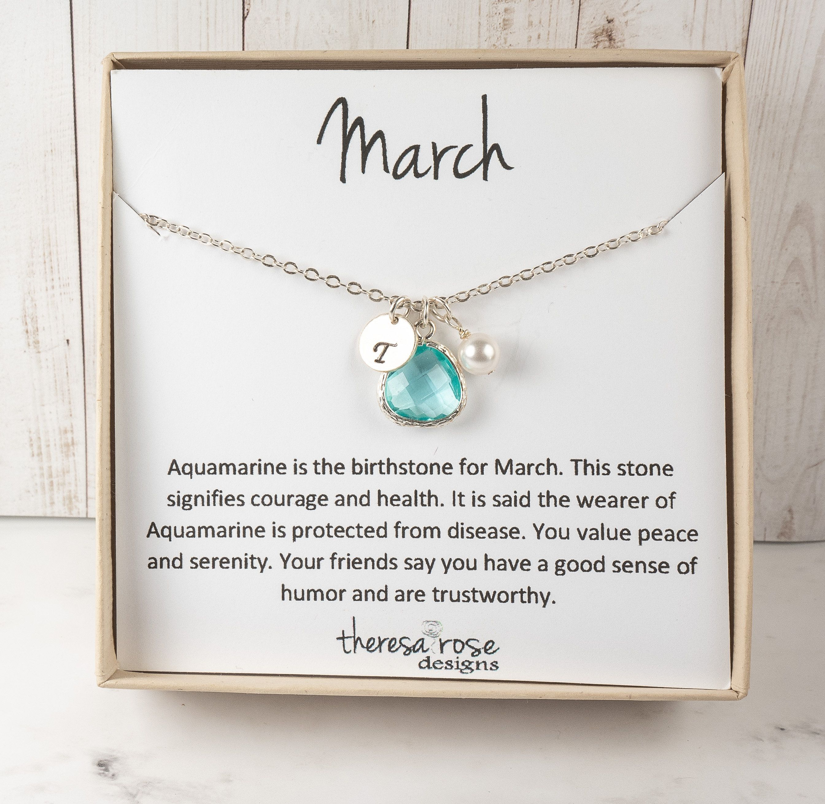 Sterling Silver Necklace with Aquamarine /& Silver Drop Charm March Birthstone