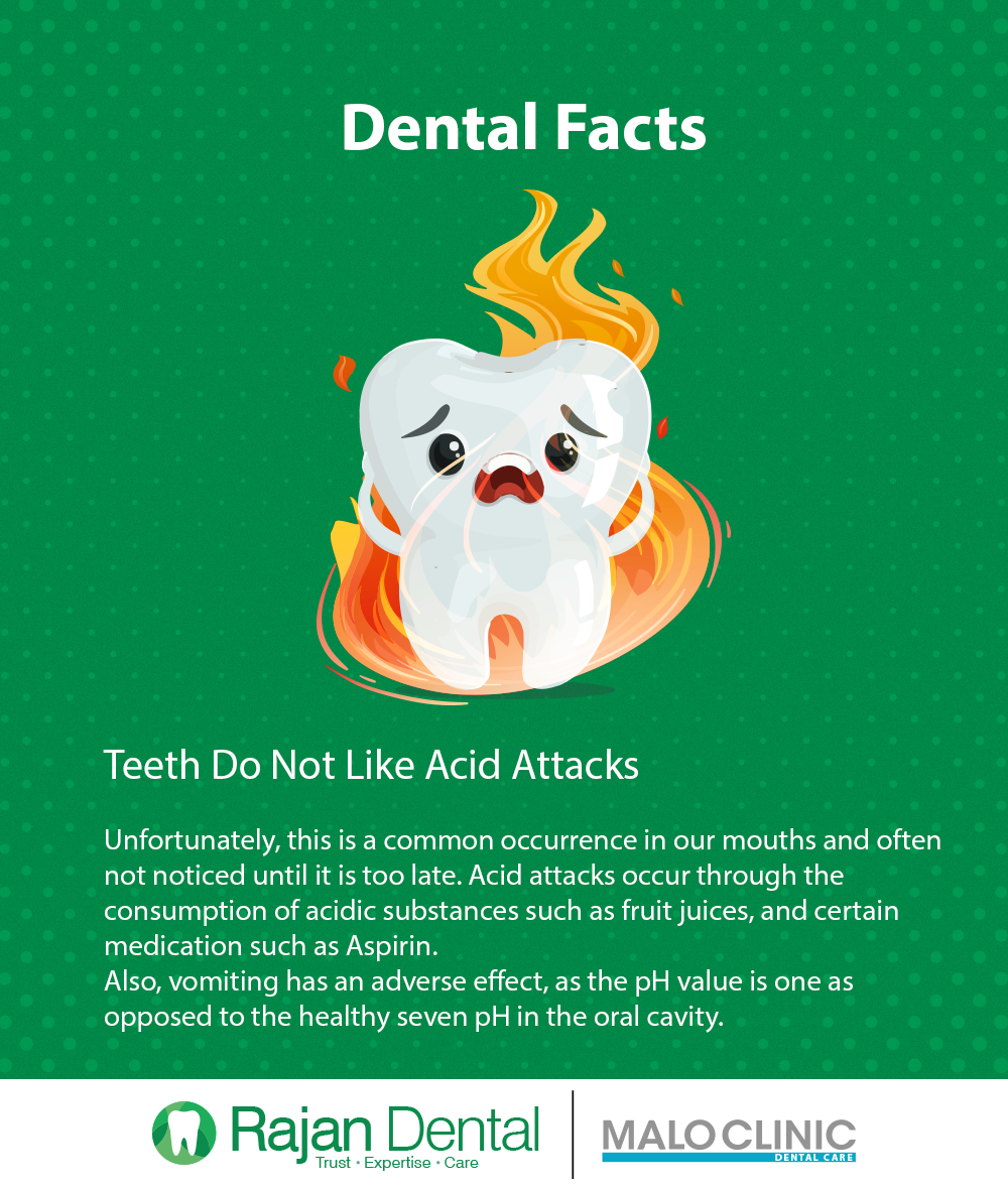 Dental Facts Teeth do not like acid attacks Unfortunately, this is a