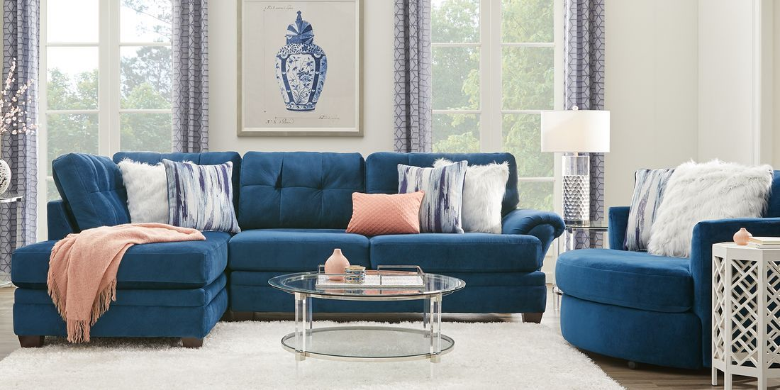 Dharma Place Blue 2 Pc Sectional Living Room Sets Furniture Living Room Sectional Sectional Living Room Sets