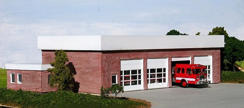 ho scale fire station | modern city fire station kit in ho scale